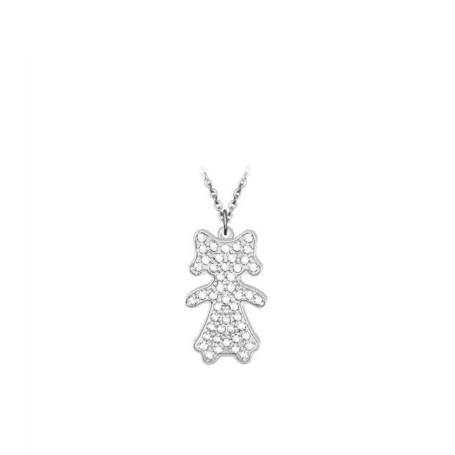 Pandant Fetita Pave, din aur alb, pavat cu diamante albe