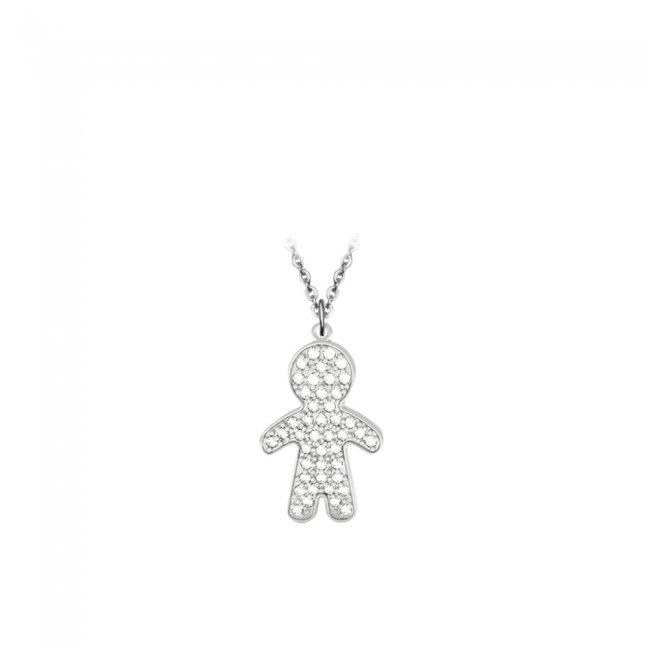 Pandant Baiat Pave, din aur alb, pavat cu diamante albe