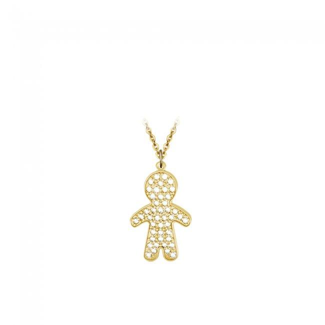 Pandant Baiat Pave, din aur galben, pavat cu diamante albe