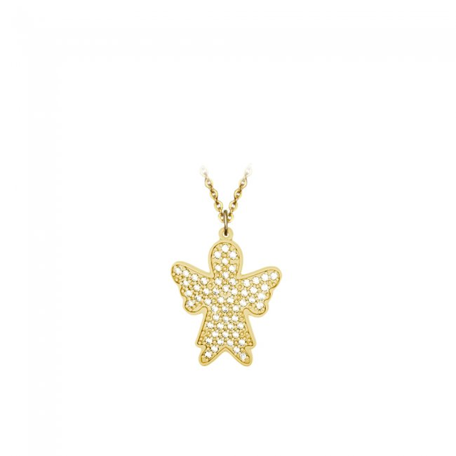 Pandant Inger Pave, din aur galben, pavat cu diamante albe
