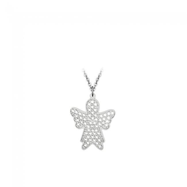 Pandant Inger Pave, din aur alb, pavat cu diamante albe