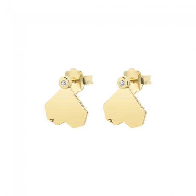 Cercei Commitment, din aur galben, cu diamante albe