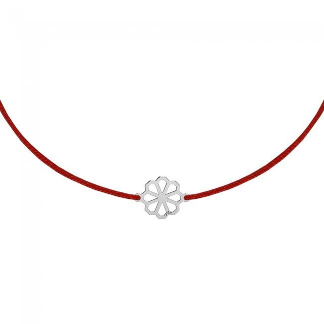 Bratara pe snur Floarea Infinity, din aur alb