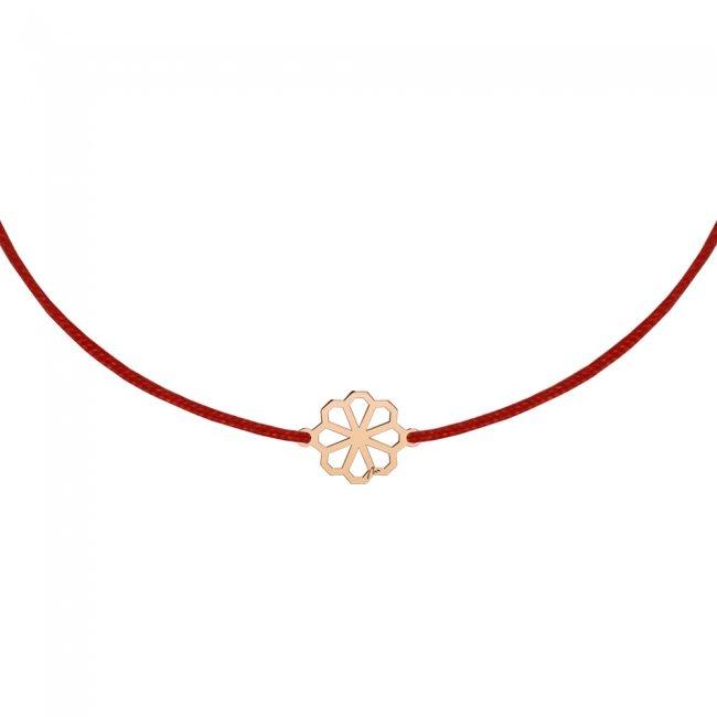 Bratara pe snur Floarea Infinity, din aur roz