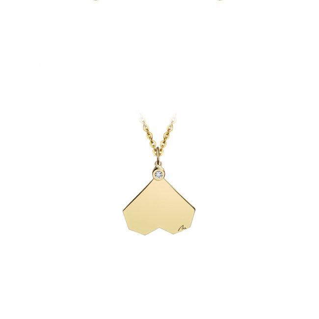 Pandantiv Commitment, din aur galben, cu diamant alb