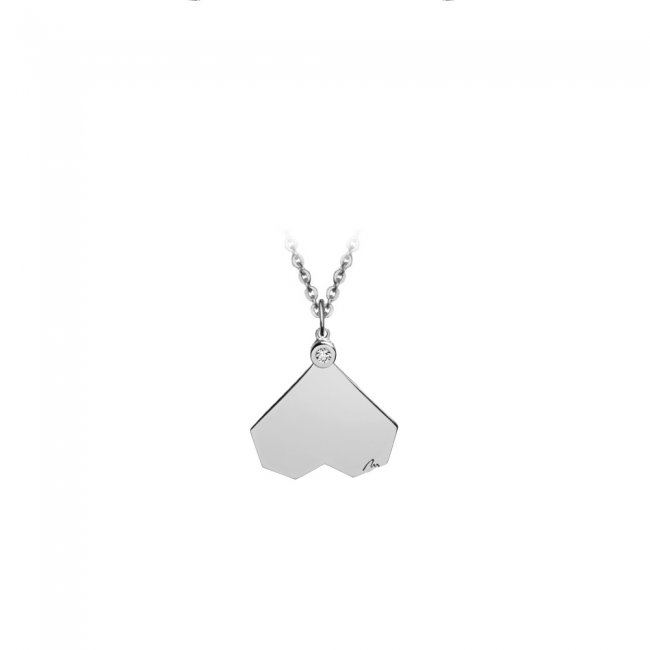 Colier Commitment, din aur alb, cu diamant alb