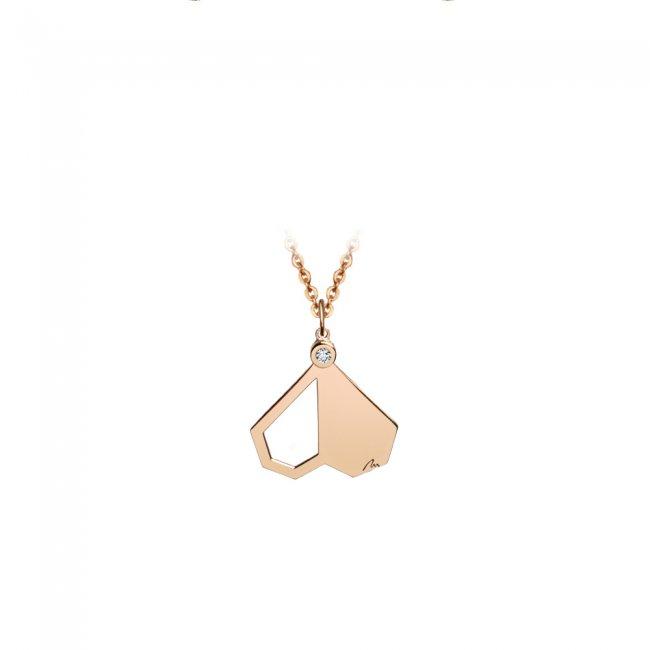 Pandantiv Intimacy, din aur roz, cu diamant alb