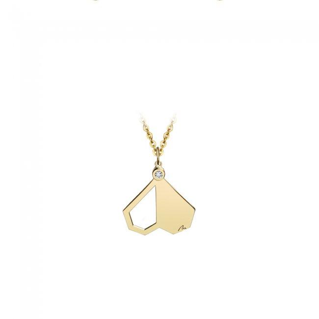 Pandantiv Intimacy, din aur galben, cu diamant alb