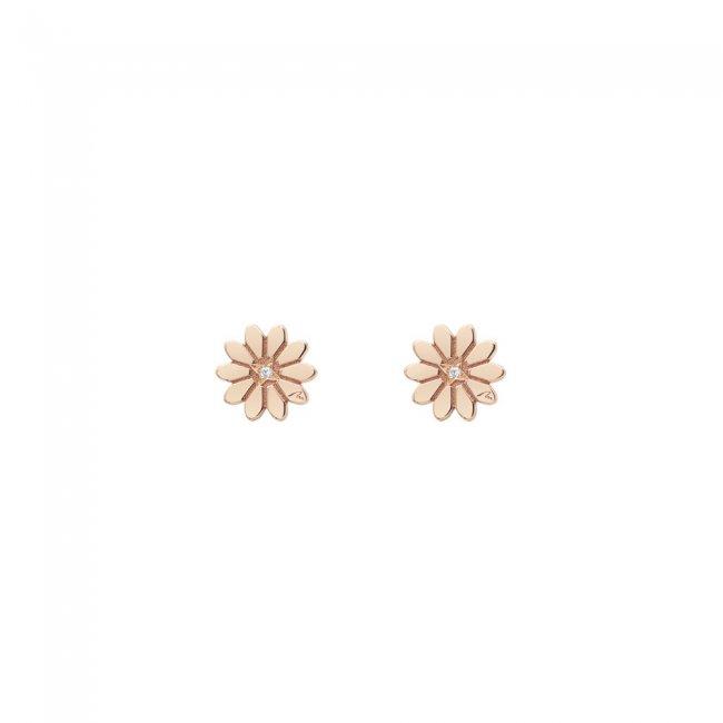 Cercei Margareta Regala, din aur roz, cu diamante albe