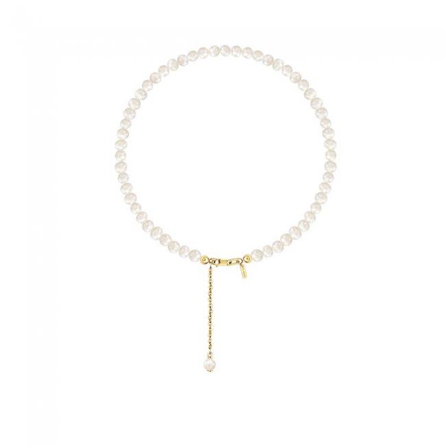 Bratara cu perle de cultura de 3mm cu inchizatoare din aur galben
