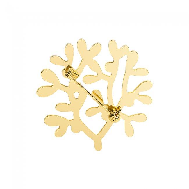 Brosa din alama aurita si perle cu model traditional Vasc