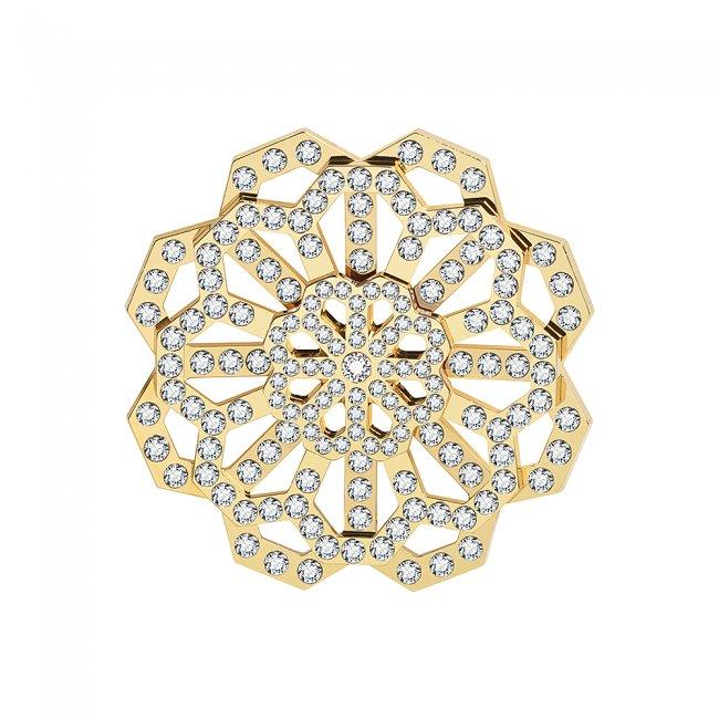 Brosa din alama aurita si cristale cu model traditional Floarea Infinitului