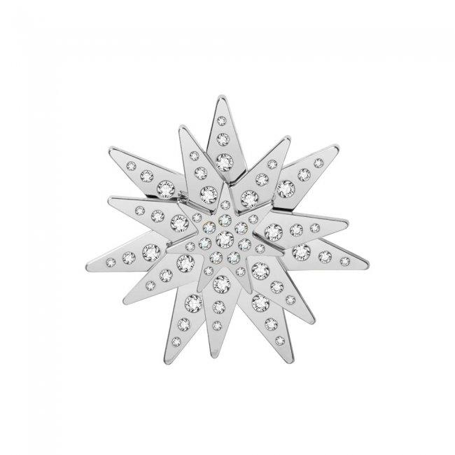 Brosa din alama aurita si cristale cu model traditional Luceafarul