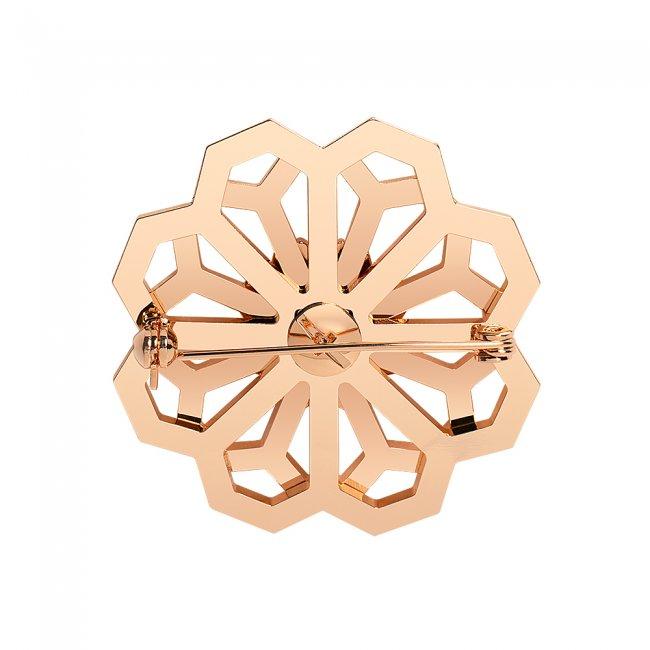 Brosa din alama aurita si perle cu model traditional Floarea Infinitului