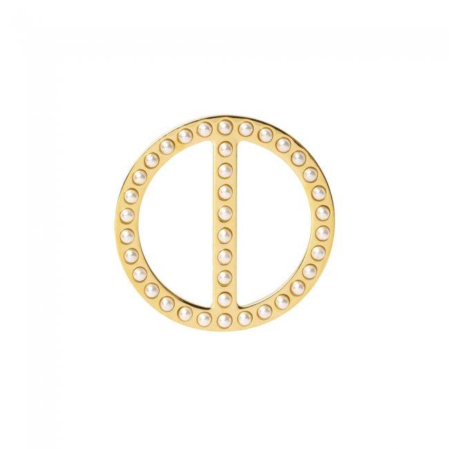 Brosa din alama aurita si perle cu model Uniunea