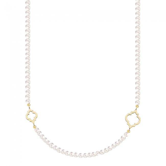 Colier Amina cu perle de 6 mm din aur galben