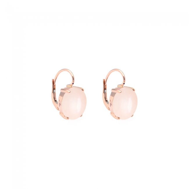 Cercei din aur roz de 9 kt cu piatra Pelle D'Angelo