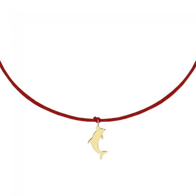 Bratara pe snur Delfin, din aur galben