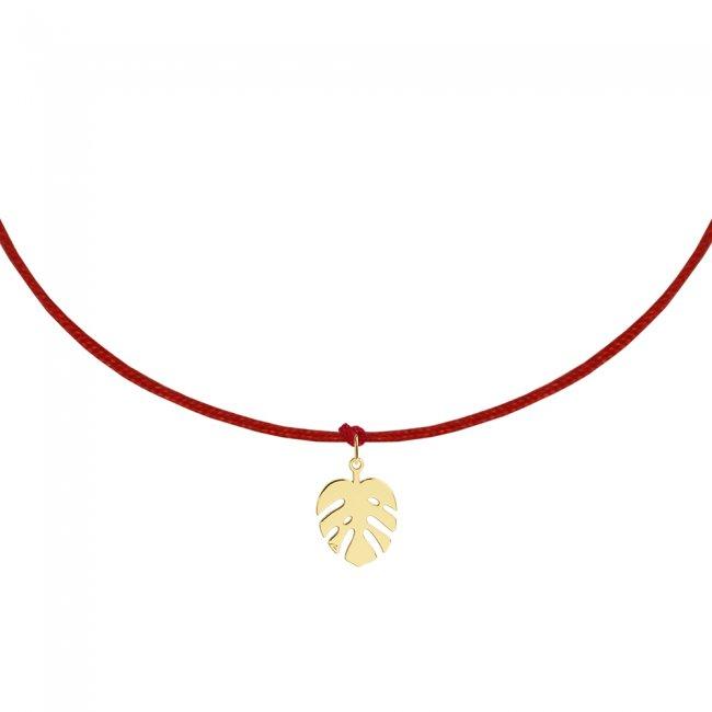 Bratara pe snur Frunza, din aur galben