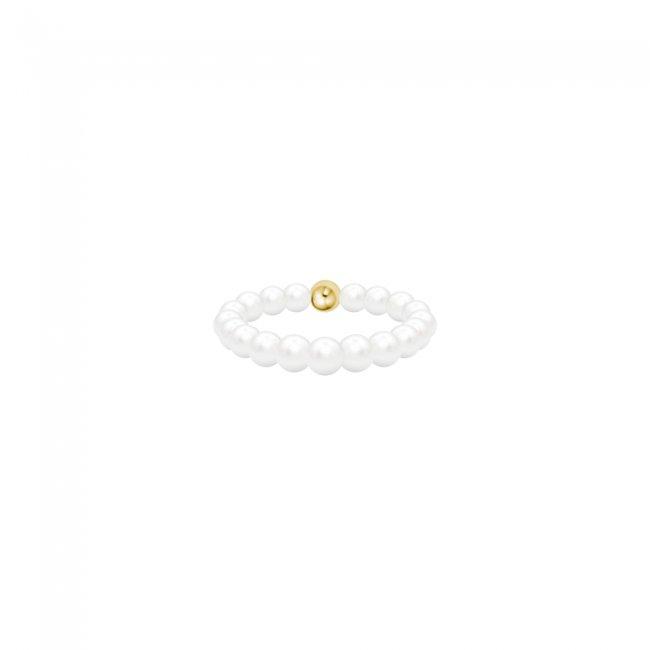 Inel Full Pearls cu perle de cultura, din aur galben