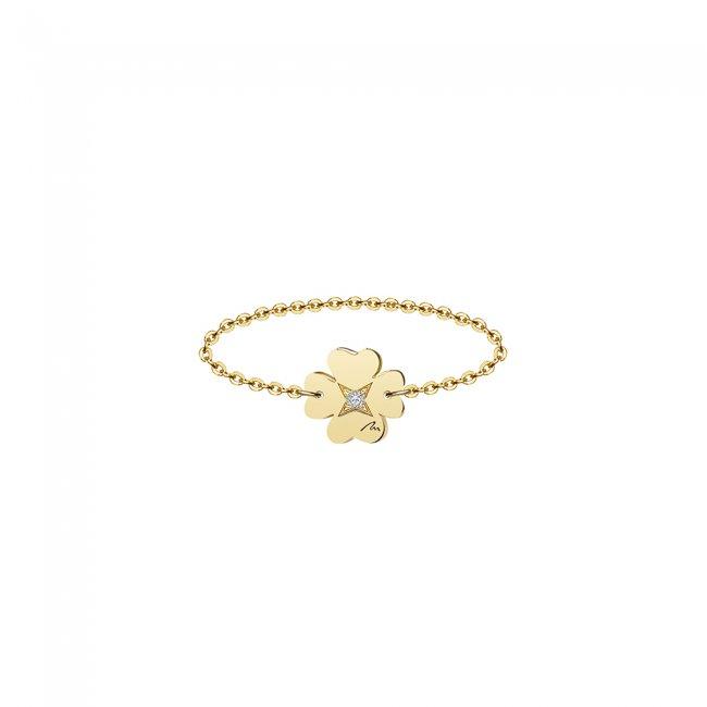 Inel pe lant cu trifoi 7 mm din aur galben si diamant alb