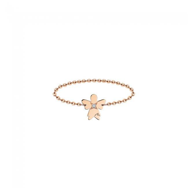Inel pe lant cu inger 7 mm din aur roz si diamant alb