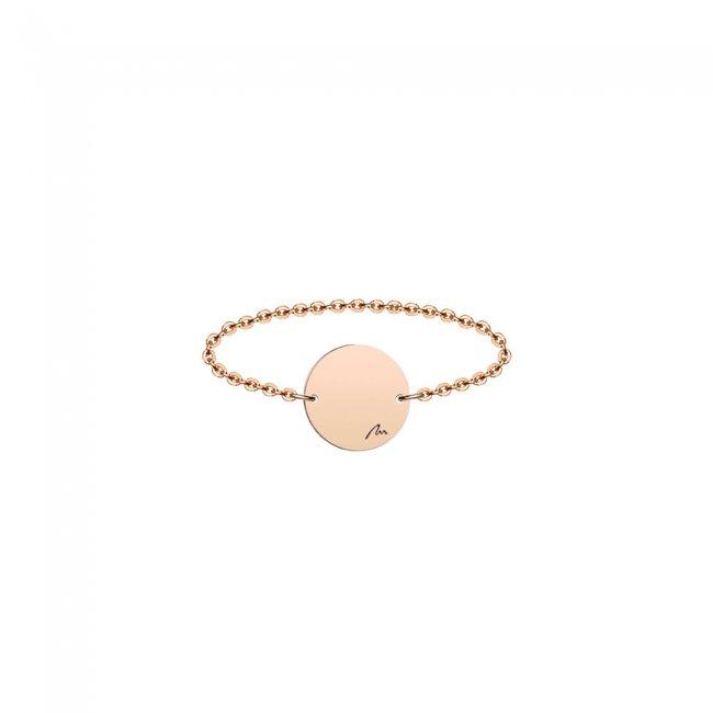 Inel pe lant cu banut 9 mm din aur roz