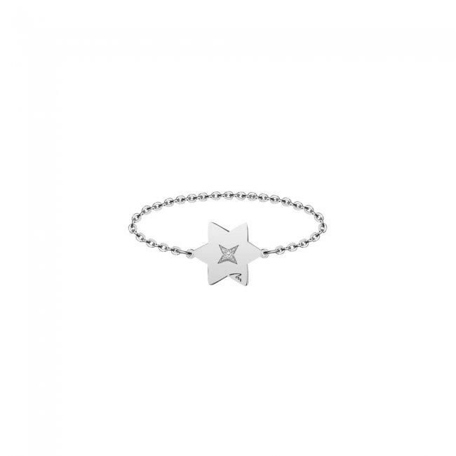 Inel pe lant cu stea 7 mm din aur alb si diamant alb