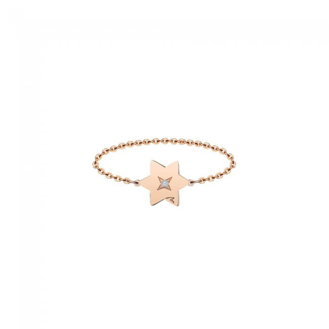 Inel pe lant cu stea 7 mm din aur roz si diamant alb
