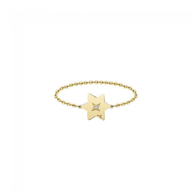 Inel pe lant cu stea 7 mm din aur galben si diamant alb