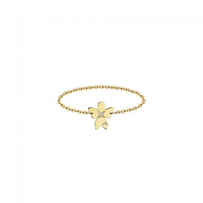 Inel pe lant cu inger 7 mm din aur galben si diamant alb
