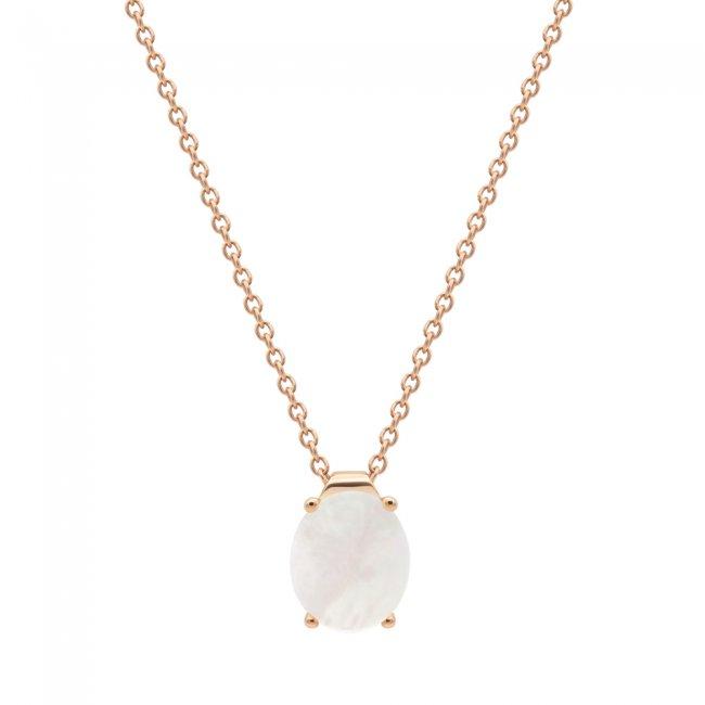 Lant din aur roz de 9 kt cu piatra Mother of Pearl