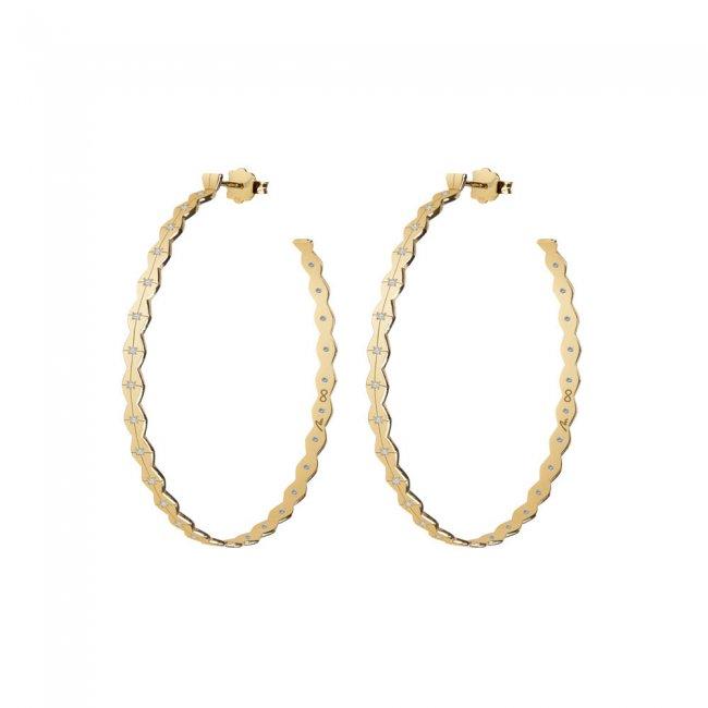 Cercei creole Infinity M, din aur galben cu diamante albe