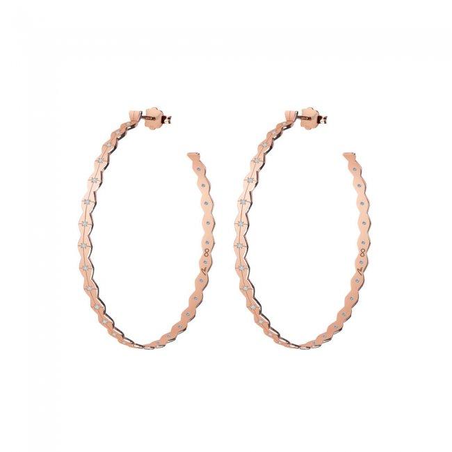 Cercei creole Infinity M, din aur roz cu diamante albe