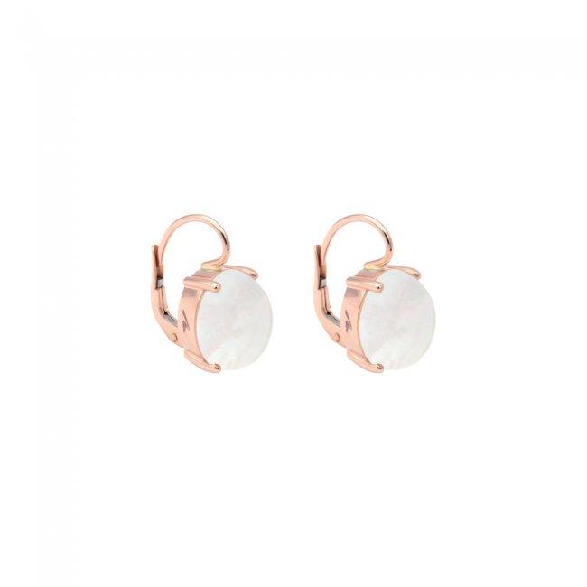 Cercei din aur roz de 9 kt cu piatra Mother of Pearls