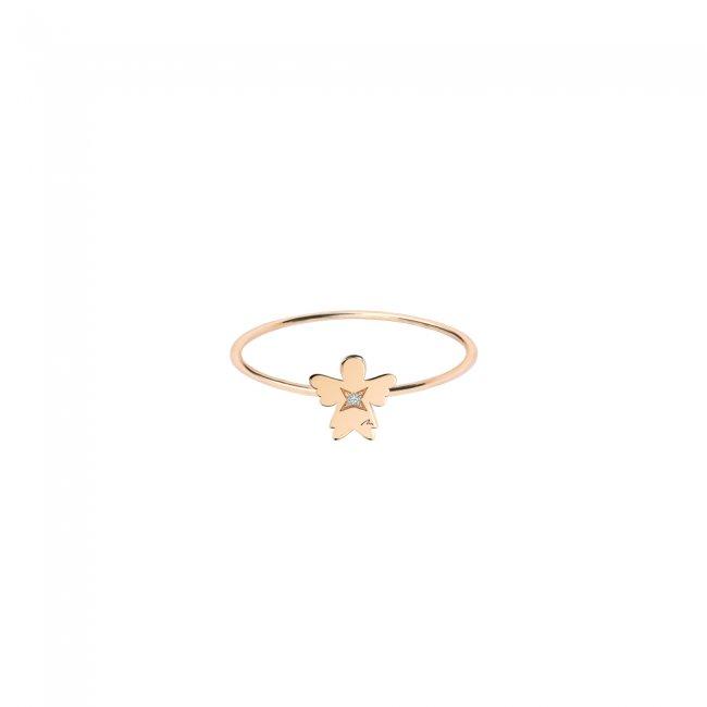 Inel Inger 7 mm, din aur roz, cu 1 diamant alb