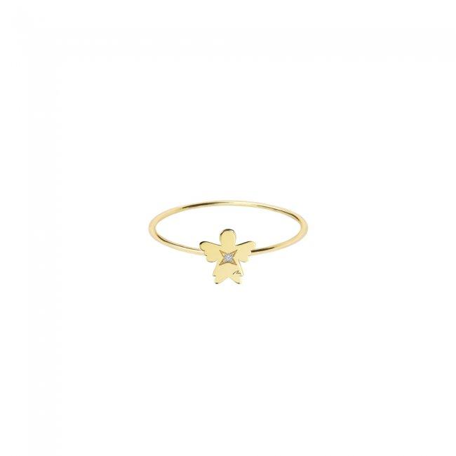 Inel Inger 7 mm, din aur galben, cu 1 diamant alb