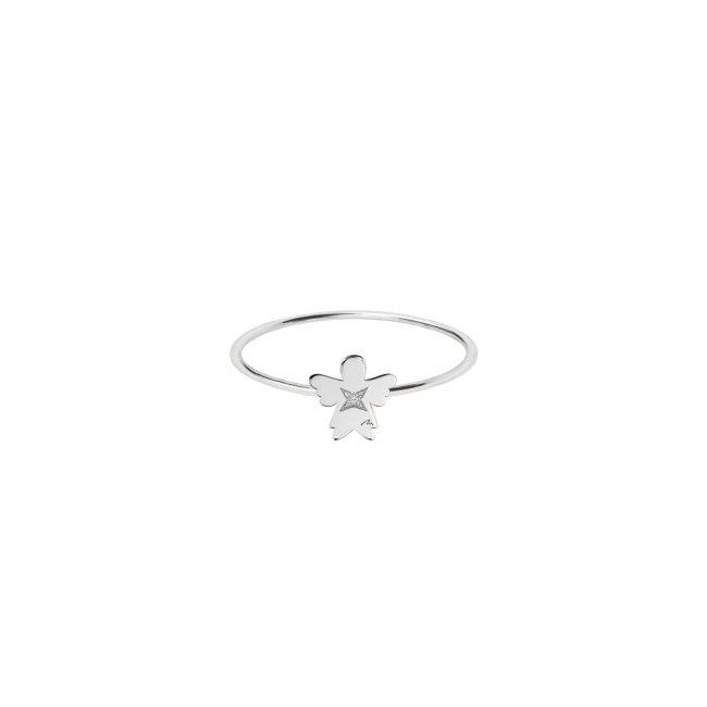 Inel Inger 7 mm, din aur alb, cu 1 diamant alb