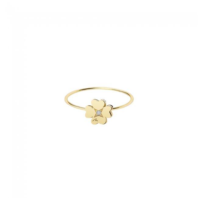 Inel Trifoi 7 mm, din aur galben, cu 1 diamant alb